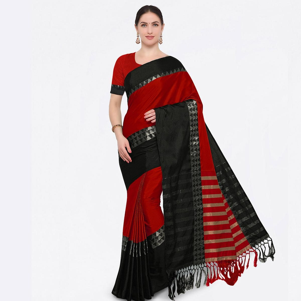 Red Colored Festive Wear Cotton Blend Saree