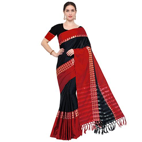 Black Colored Festive Wear Cotton Blend Saree