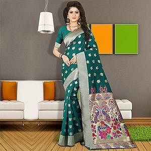 Gorgeous Rama Green Colored Traditional Festive Wear Silk Saree