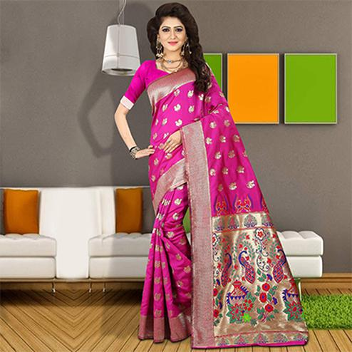 Majesty Deep Pink Colored Traditional Festive Wear Silk Saree