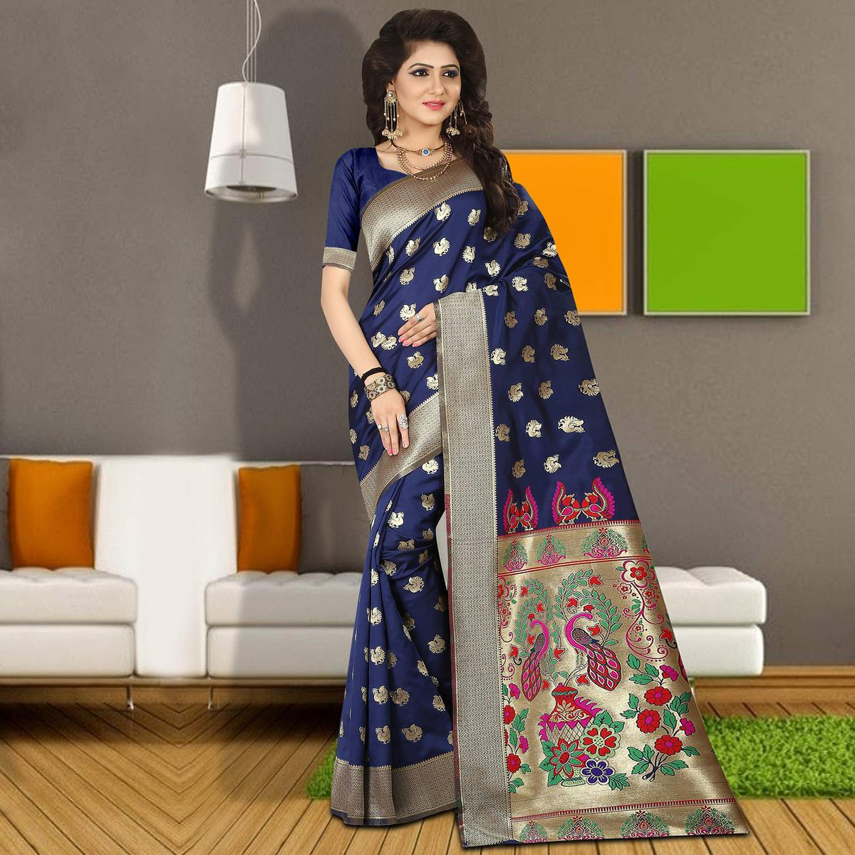 Appealing Navy Blue Colored Traditional Festive Wear Silk Saree