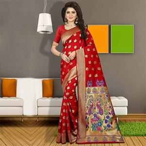 Marvellous Red Colored Traditional Festive Wear Silk Saree