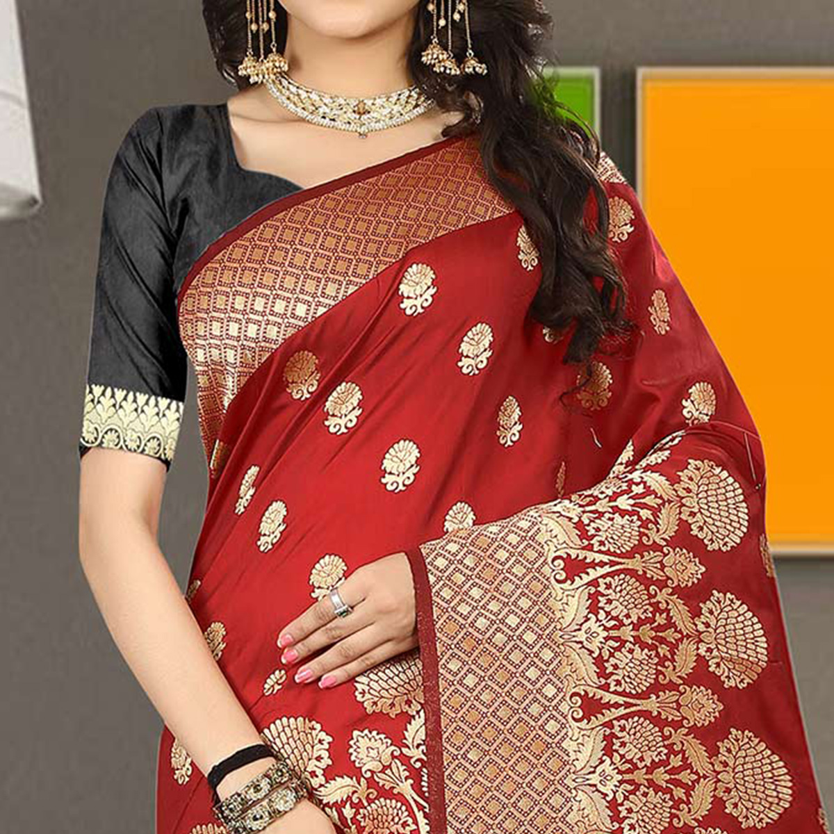 Ravishing Red Colored Traditional Festive Wear Silk Saree