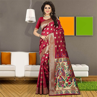 Graceful Pink Colored Traditional Festive Wear Silk Saree