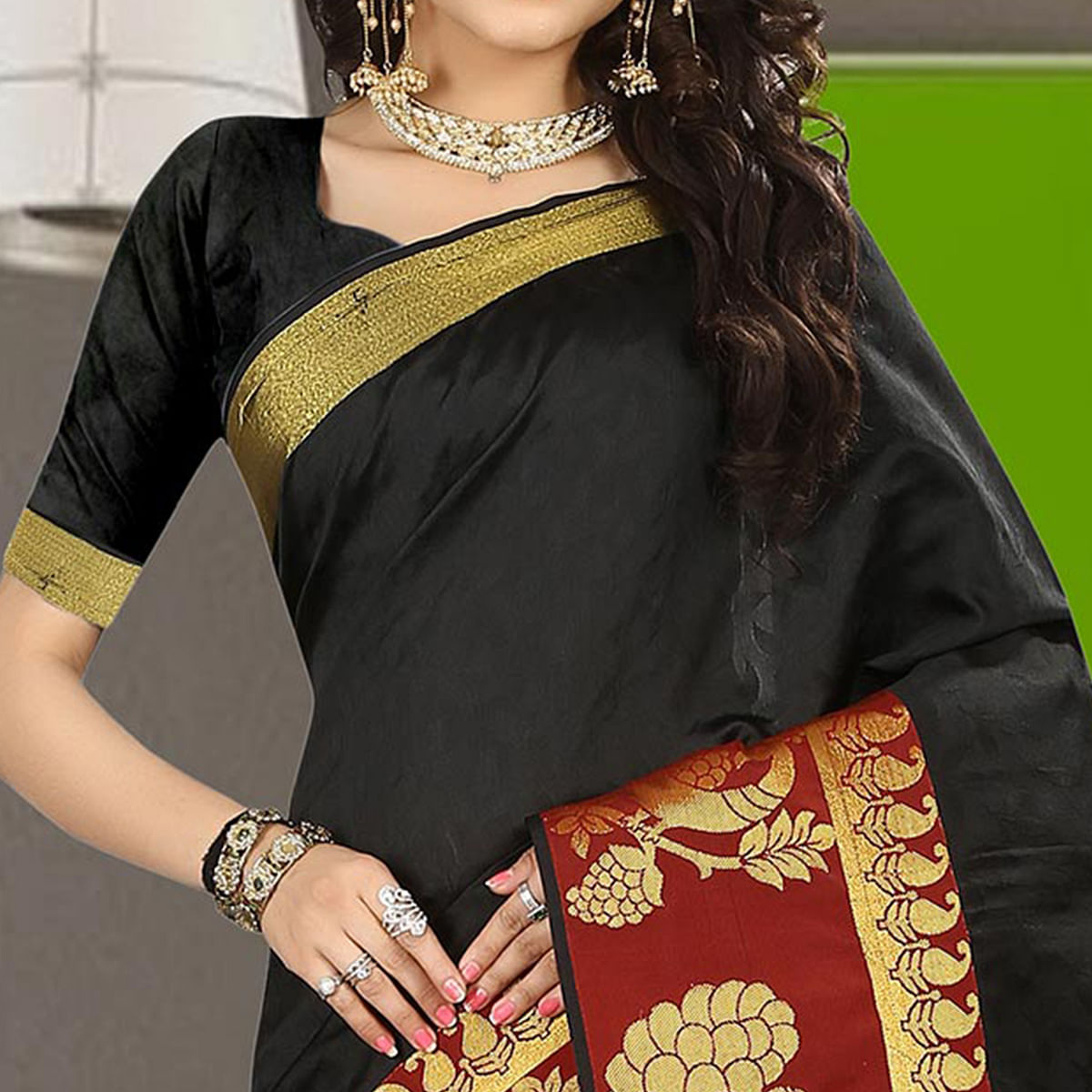 Deserving Black Colored Traditional Festive Wear Silk Saree