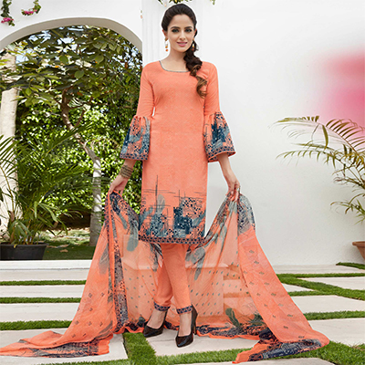 Peach Colored Casual Wear Printed French Crape Dress Material