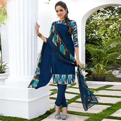 Navy Blue Colored Casual Wear Printed French Crape Dress Material