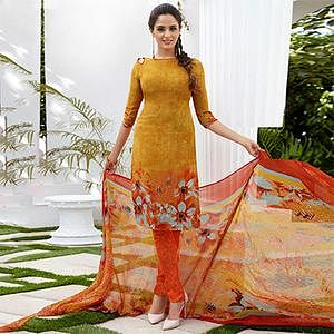 Mustard yellow Colored Casual Wear Printed French Crape Dress Material