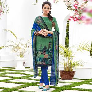 Green Colored Casual Wear Printed French Crape Dress Material