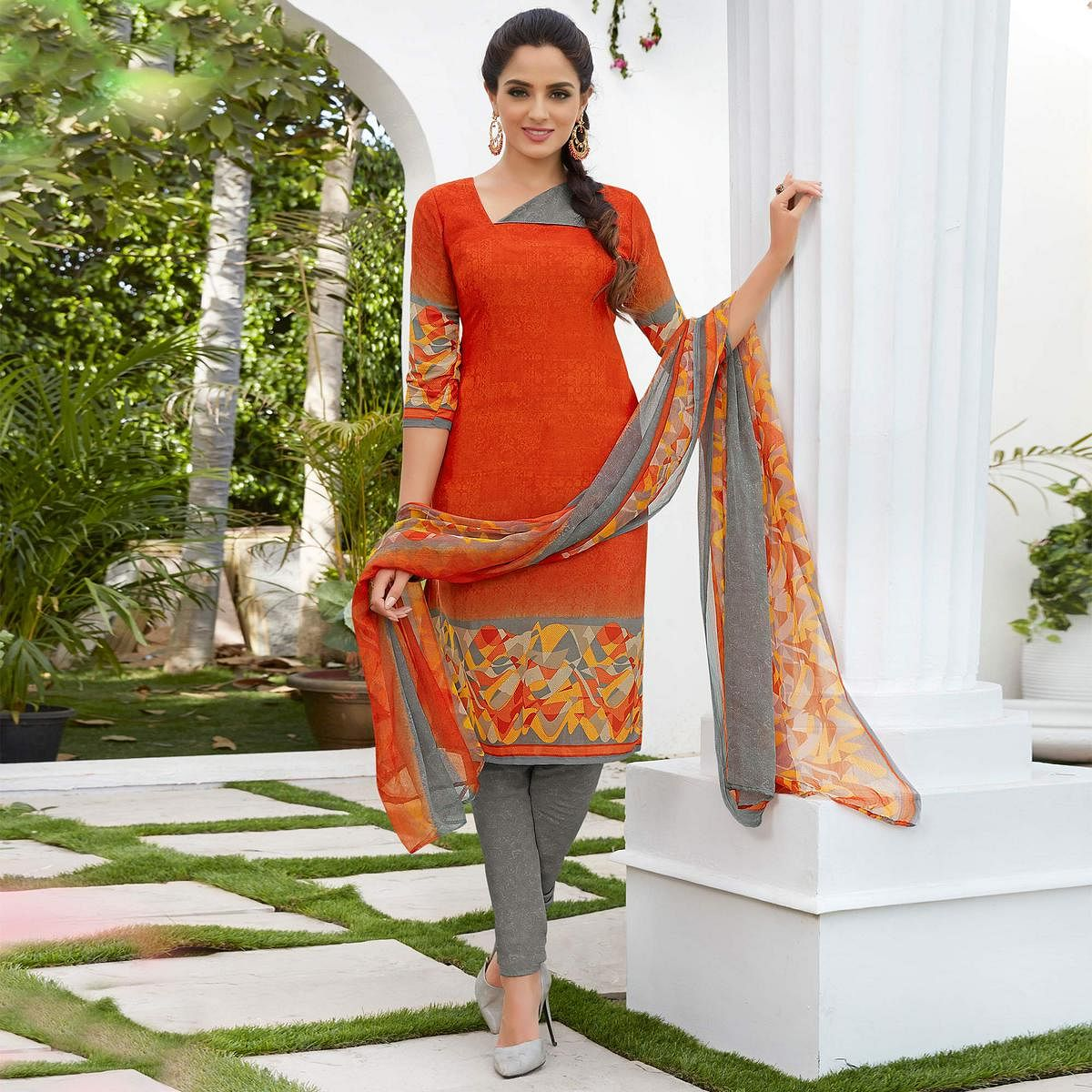 Orange Colored Casual Wear Printed French Crape Dress Material