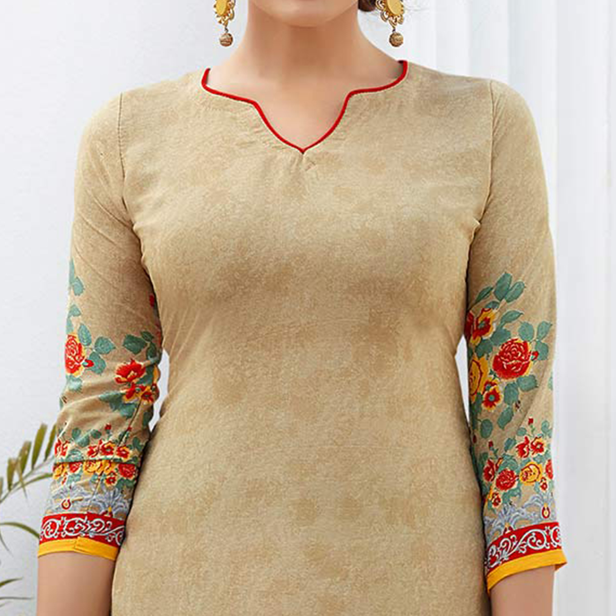 Beige Colored Casual Wear Printed French Crape Dress Material