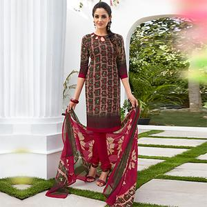 Brown Colored Casual Wear Printed French Crape Dress Material