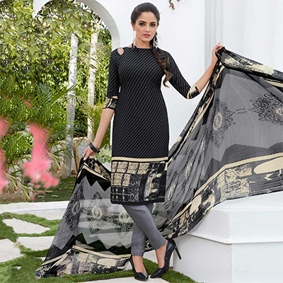 Black Colored Casual Wear Printed French Crape Dress Material