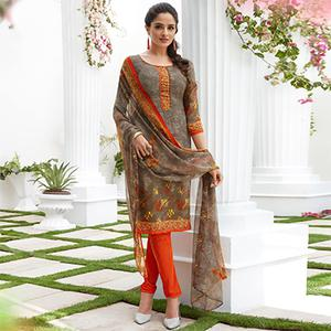 Grey Colored Casual Wear Printed French Crape Dress Material