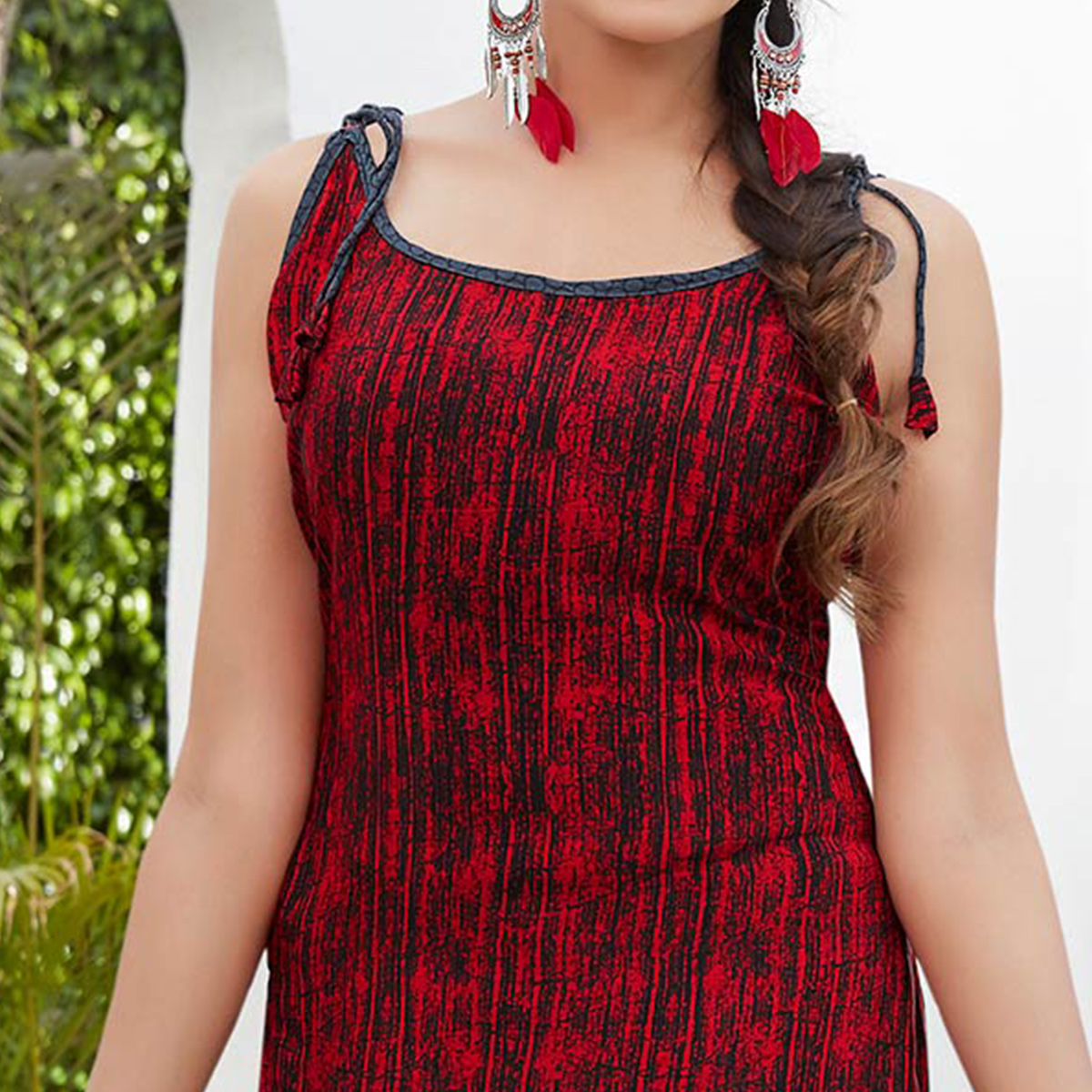 Red Colored Casual Wear Printed French Crape Dress Material