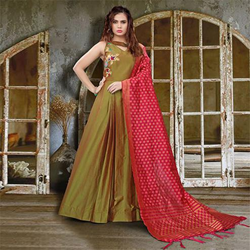 Attractive Olive Green Colored Partywear Embroidered Soft Taffeta Gown