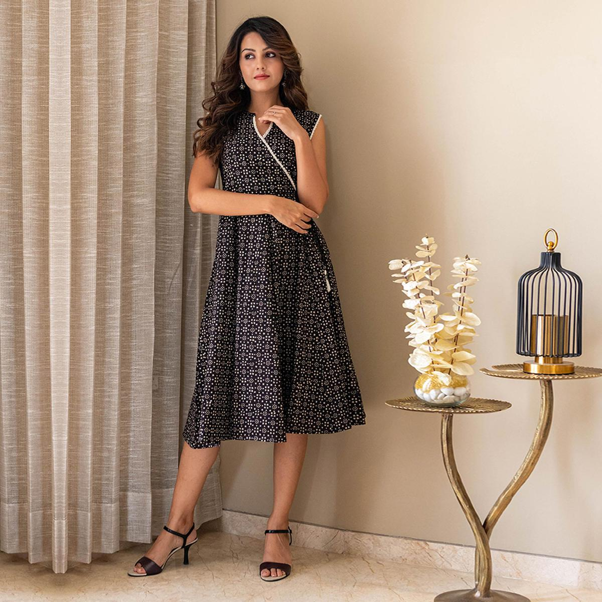 Just For You - Black Casual Printed Angrakha Lace Dress