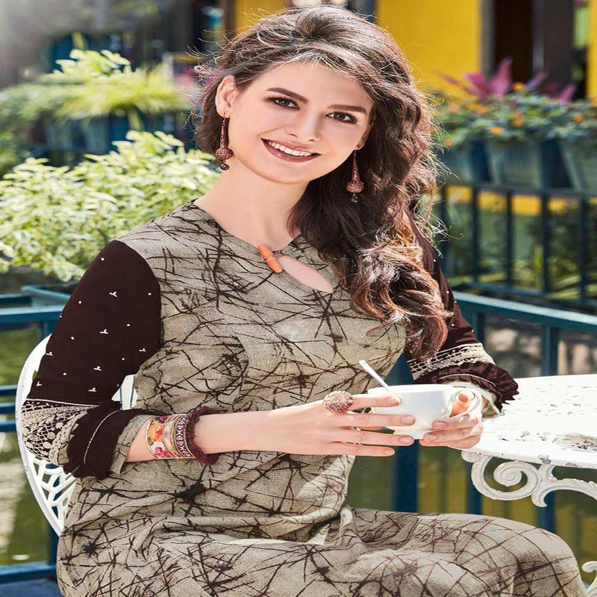 Beige-Brown Colored Casual Printed Pure Cotton Linen Kurti