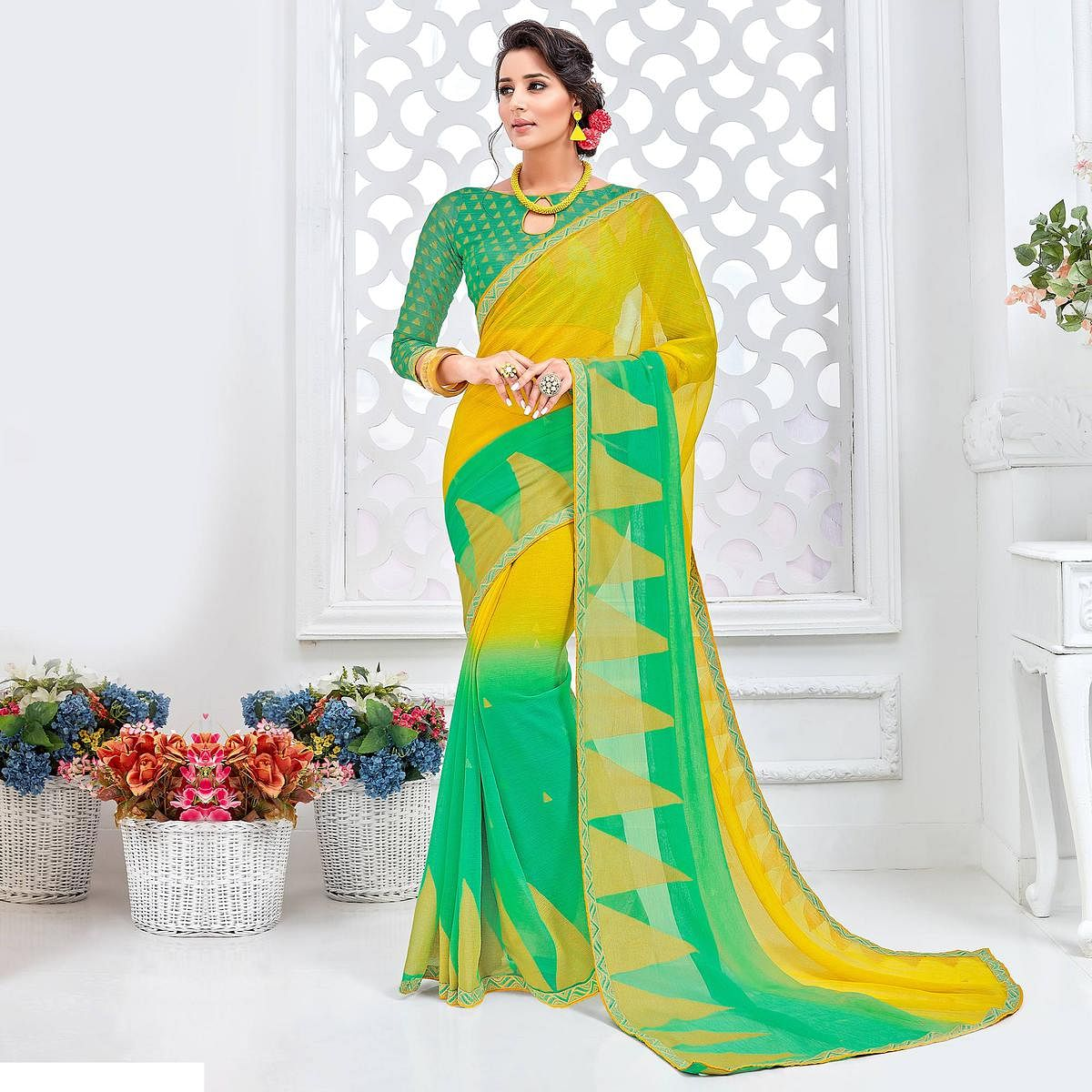 Yellow - Green Brasso Fabric Printed Saree