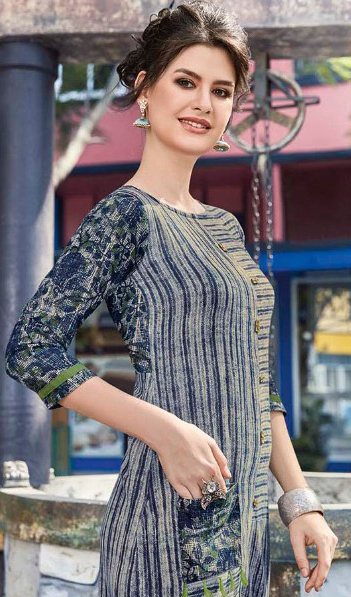 Grey-Blue Colored Casual Printed Pure Cotton Linen Kurti