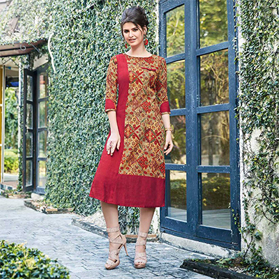 Red-Beige Colored Casual Printed Pure Cotton Linen Kurti