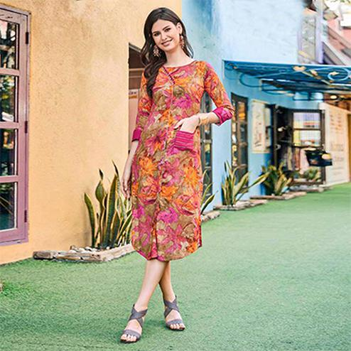 Multi Colored Casual Printed Pure Cotton Linen Kurti