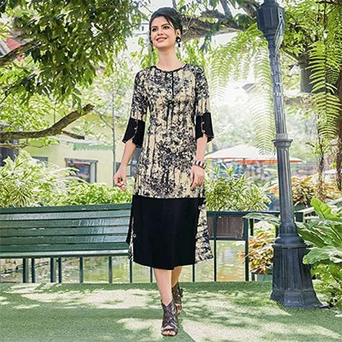 Cream-Black Colored Casual Printed Pure Cotton Linen Kurti