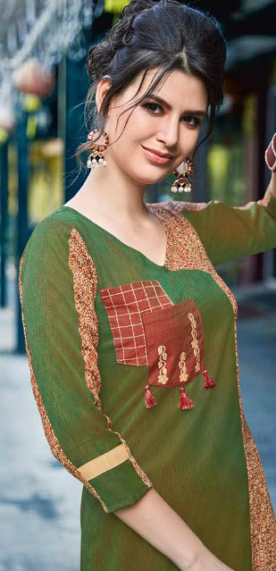 Olive Green Colored Casual Printed Pure Cotton Linen Kurti