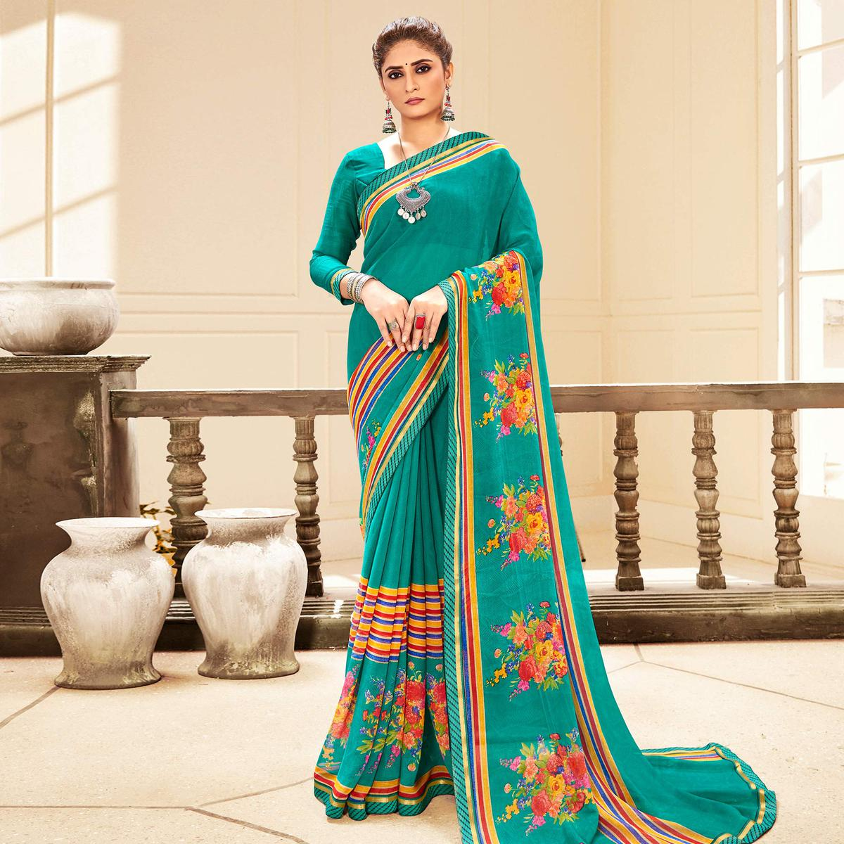 Green Casual Wear Designer Floral Printed Soft Georgette Saree With Lace Border