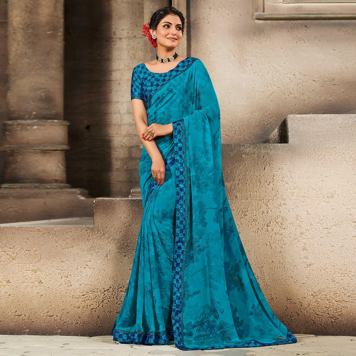 Blue Casual Wear Designer Floral Printed Georgette Saree With Jacquard Lace