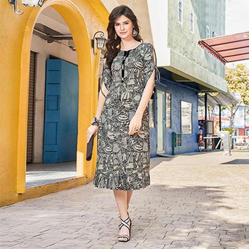Grey Colored Casual Printed Pure Cotton Linen Kurti