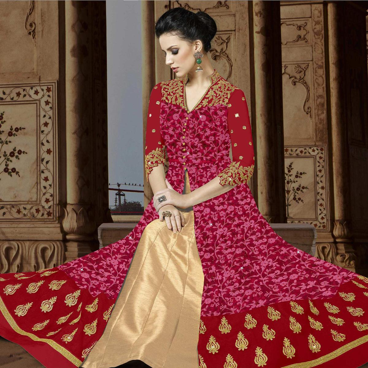 Adorning Red Colored Embroidered Partywear Abaya Style Netted Lehenga / Anarkali Suit
