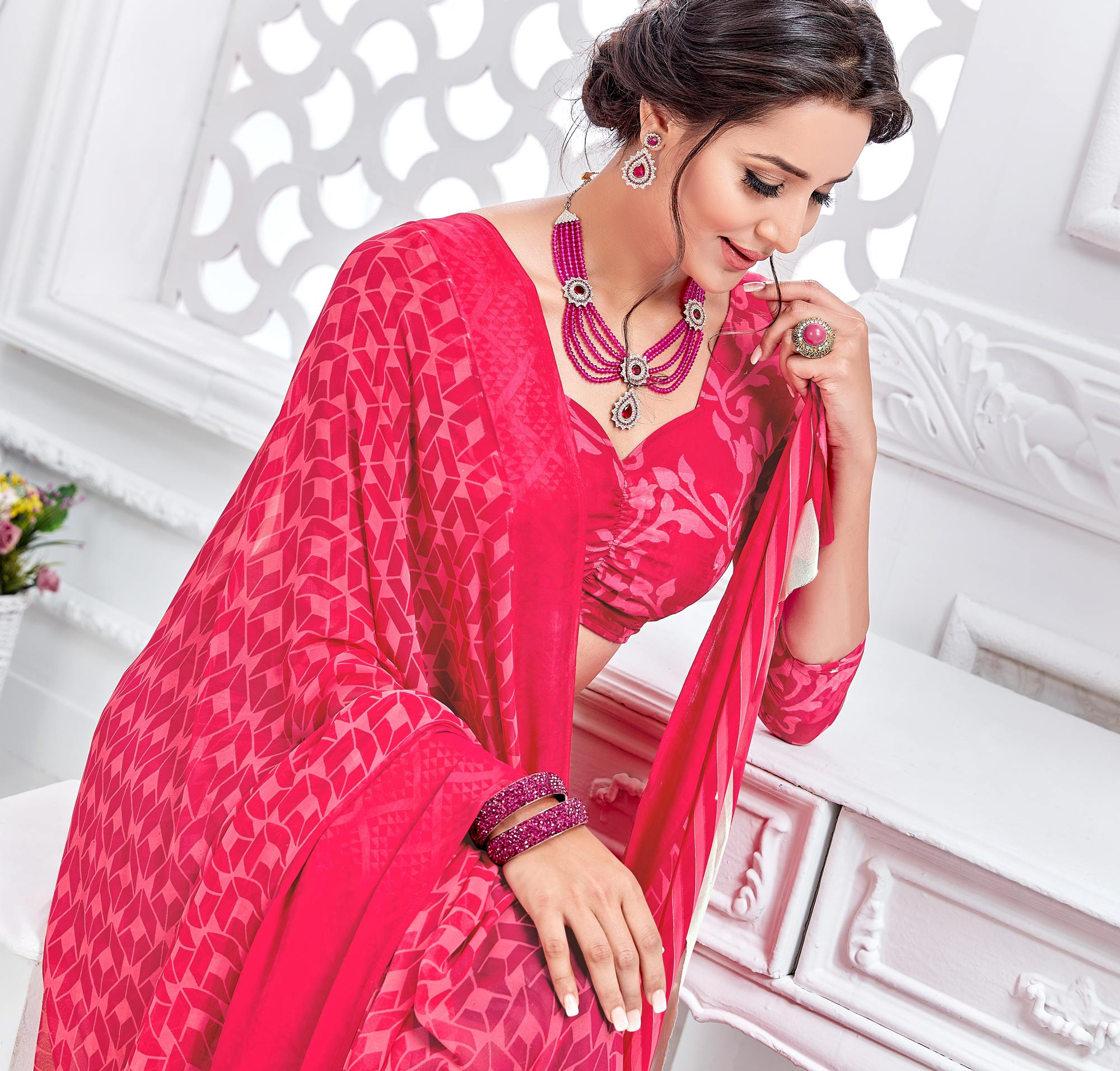 Pink Satin Printed Saree