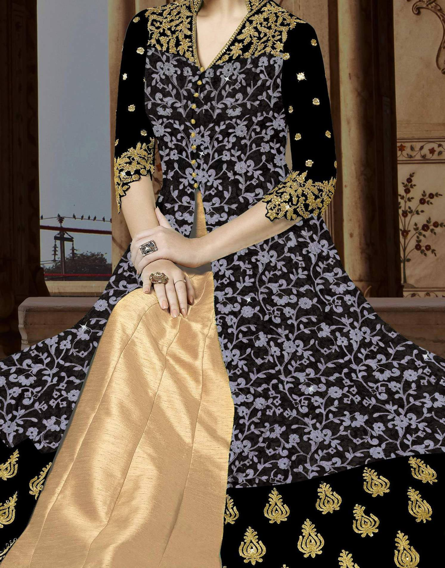 Surpassing Navy Blue Colored Embroidered Partywear Abaya Style Netted Lehenga / Anarkali Suit