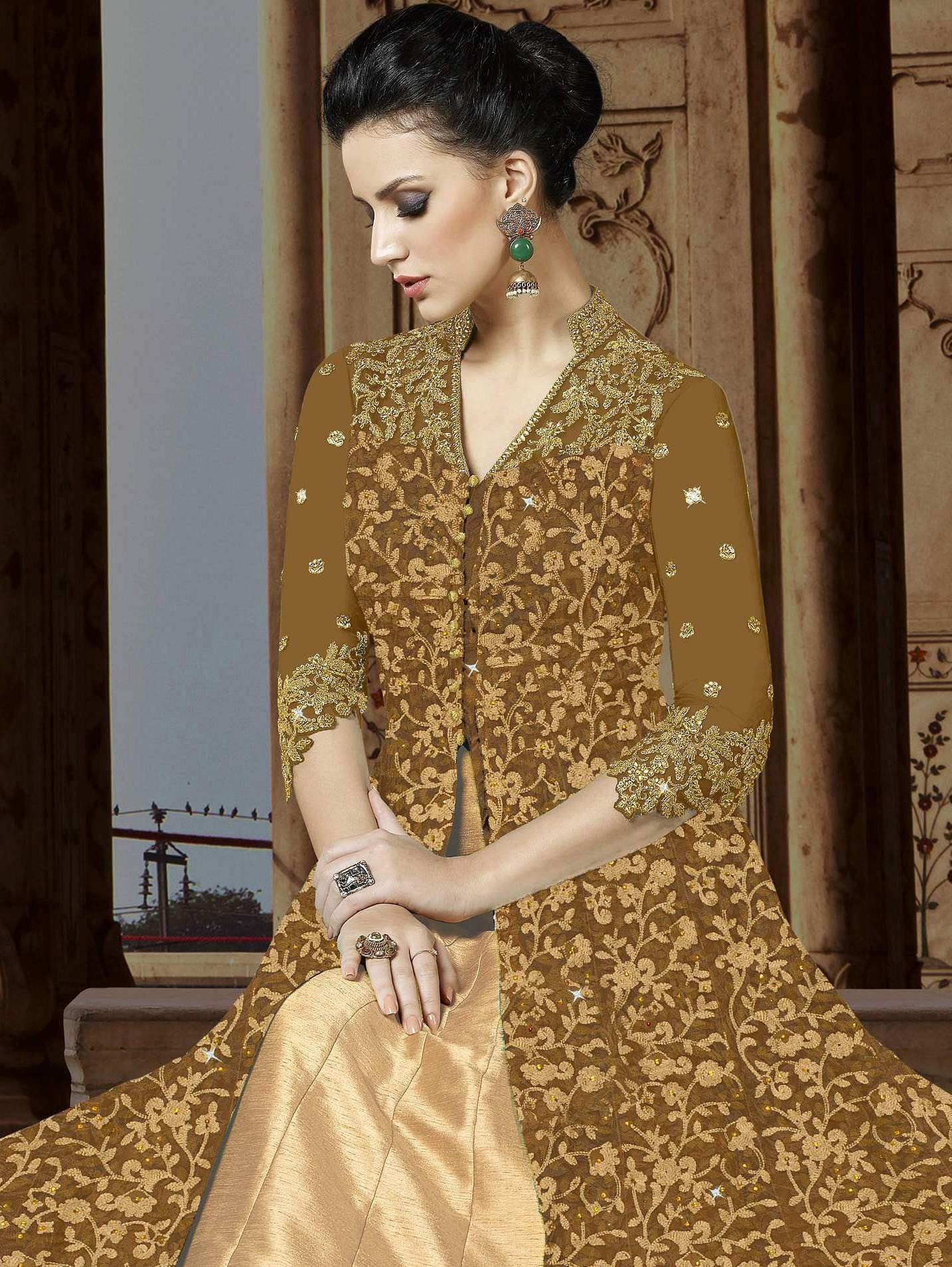 Mesmerising Brown Colored Embroidered Partywear Abaya Style Netted Lehenga / Anarkali Suit