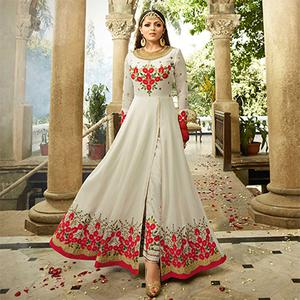Stunning White Colored Designer Embroidered Partywear Georgette Abaya Style Anarkali Suit