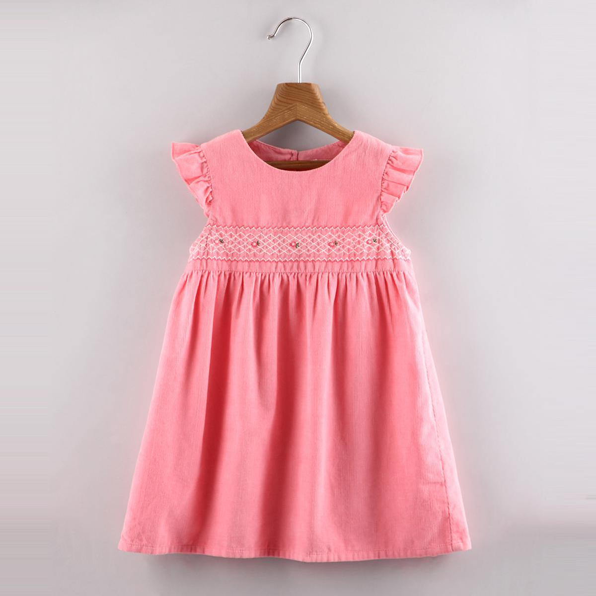 Beebay Blossom Corduroy Embroide(Red) Dress (Pink)