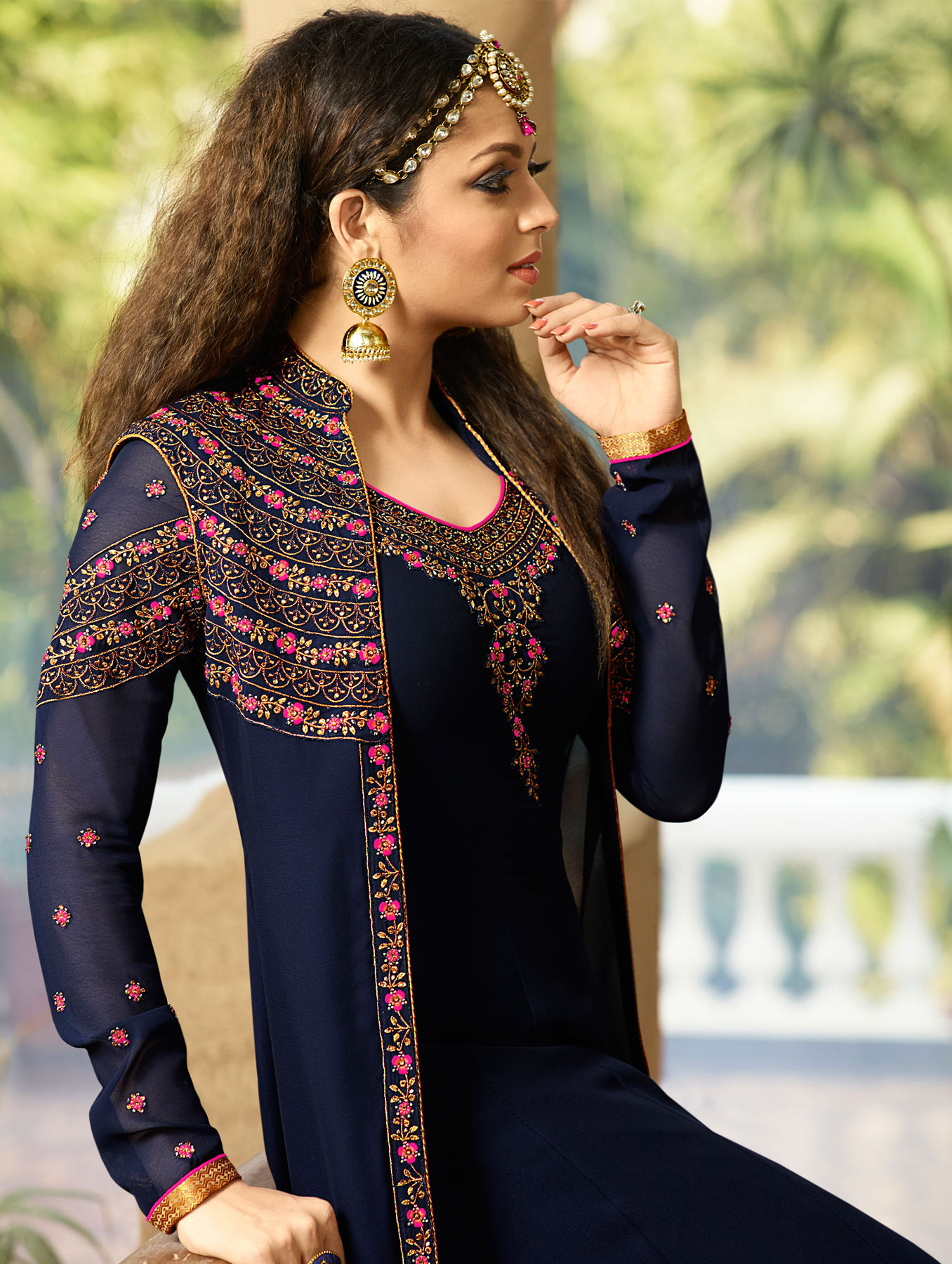 Awesome Navy Blue Colored Designer Embroidered Partywear Georgette Abaya Style Anarkali Suit