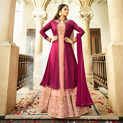 Elegant Light Pink Colored Designer Embroidered Partywear Georgette Abaya Style Anarkali Suit