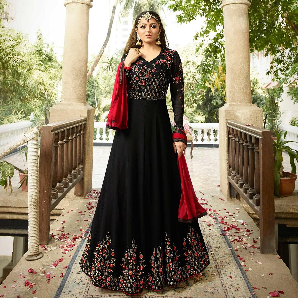 Bold Black Colored Designer Embroidered Partywear Georgette Abaya Style Anarkali Suit