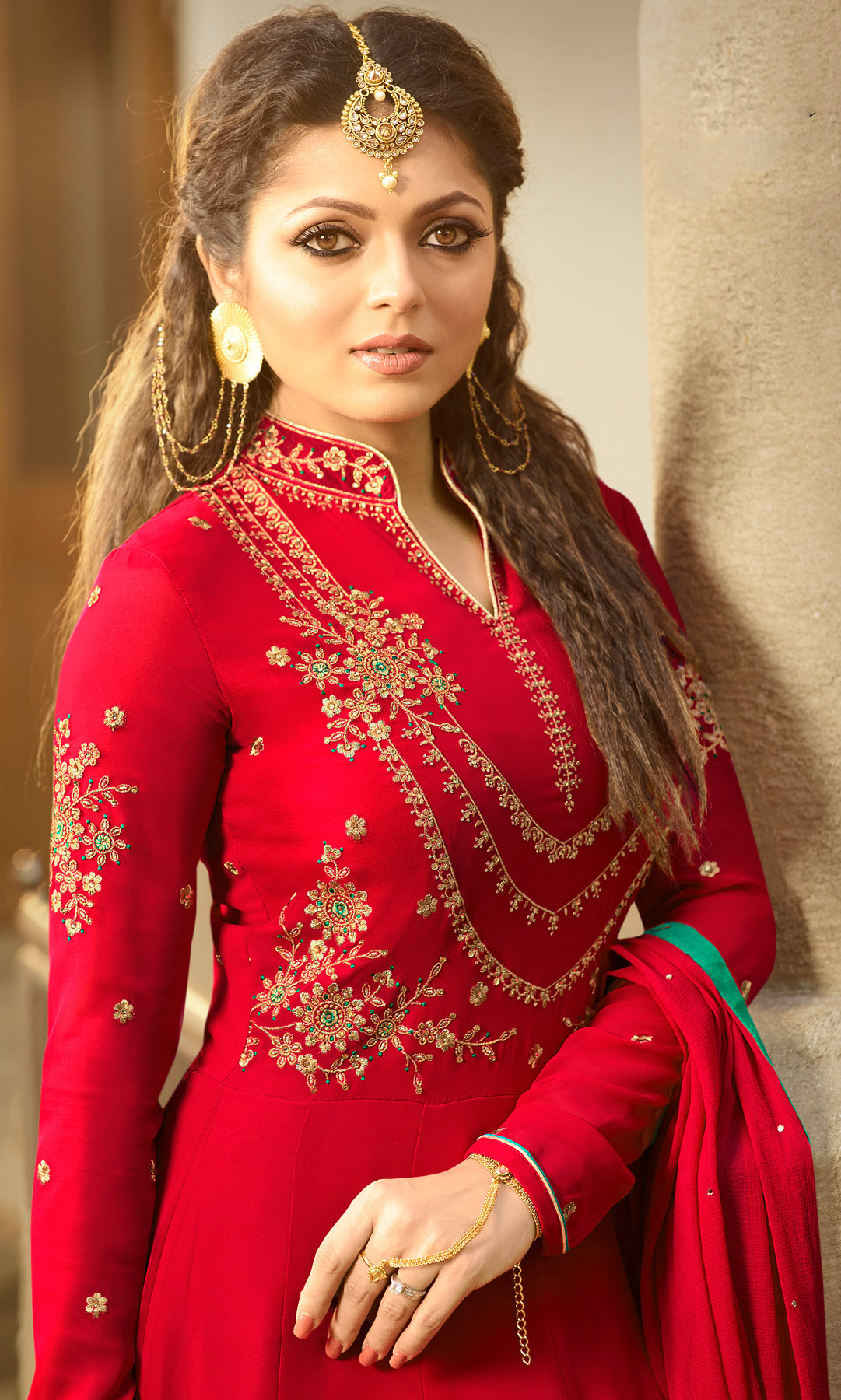Amazing Red Colored Designer Embroidered Partywear Georgette Abaya Style Anarkali Suit