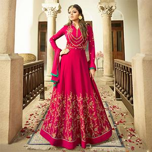Amazing Pink Colored Designer Embroidered Partywear Georgette Abaya Style Anarkali Suit