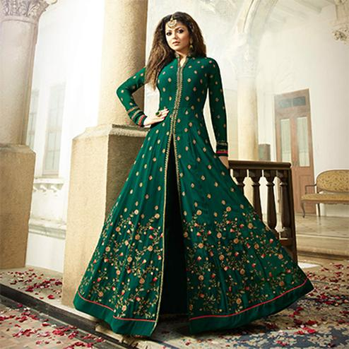 Opulent Dark Green Colored Designer Embroidered Partywear Georgette Abaya Style Anarkali Suit