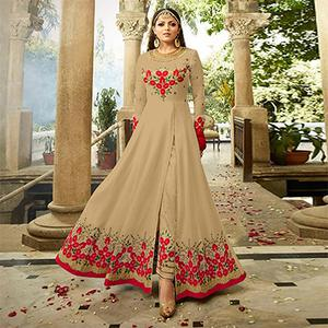 Blissful Beige Colored Designer Embroidered Partywear Georgette Abaya Style Anarkali Suit