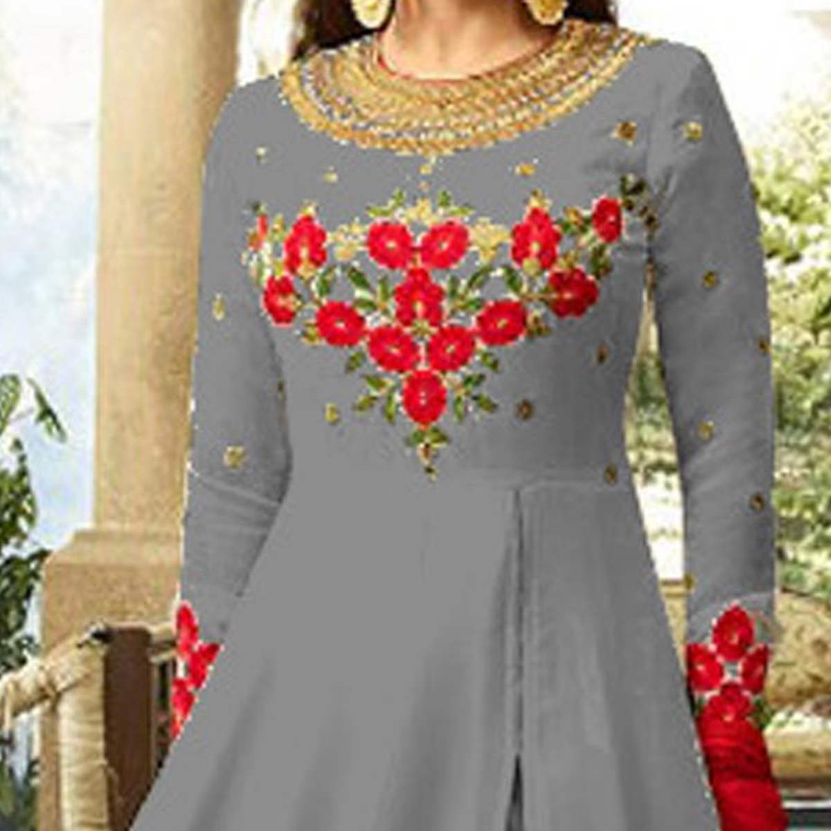 Trendy Grey Colored Designer Embroidered Partywear Georgette Abaya Style Anarkali Suit
