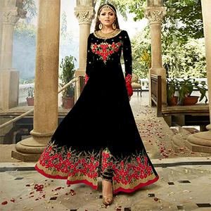 Glowing Black Colored Designer Embroidered Partywear Georgette Abaya Style Anarkali Suit