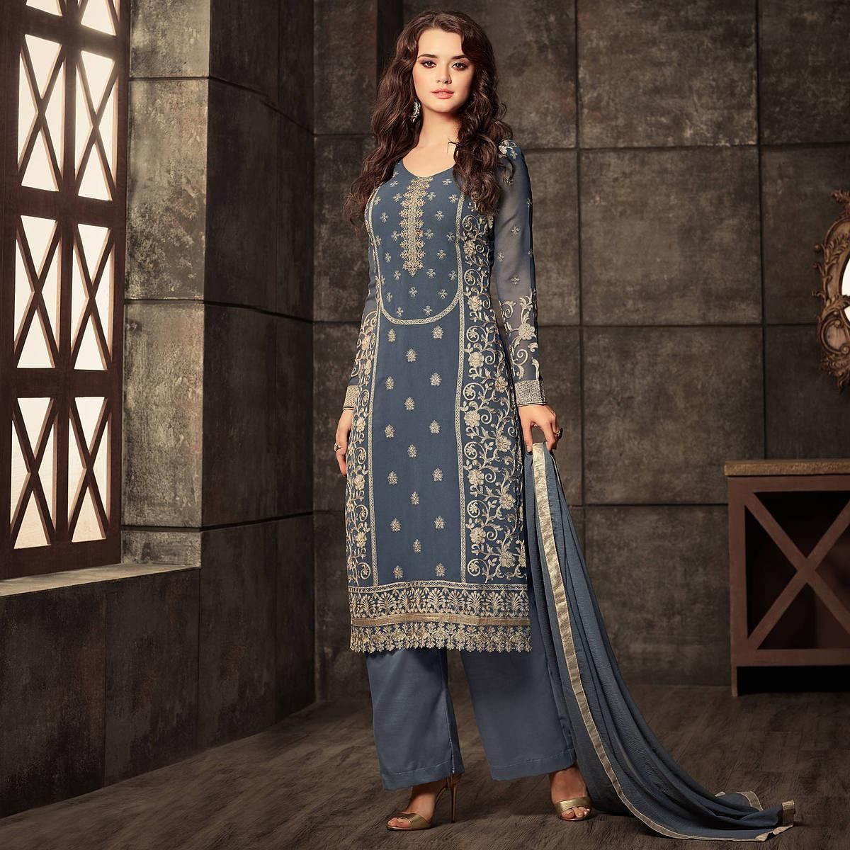 Incredible Grey Colored Designer Embroidered Georgette Suit