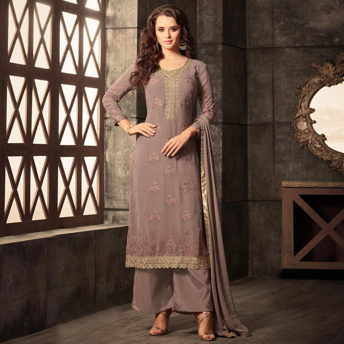 Energetic Light Brown Colored Designer Embroidered Georgette Suit