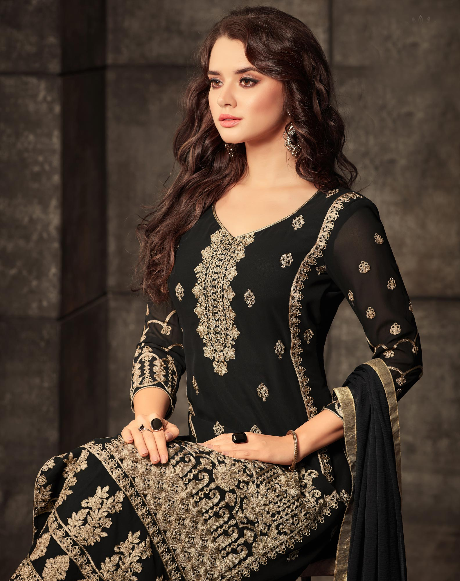 Intricate Black Colored Designer Embroidered Georgette Suit