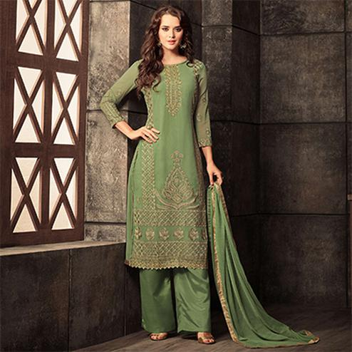 Marvellous Green Colored Designer Embroidered Georgette Suit